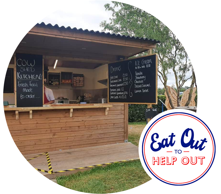 Churchfields Cow Shed Kitchen is now open for socially distanced, outdoor food in the Worcestershire Countryside. Proudly part of the Eat Out to Help Out scheme