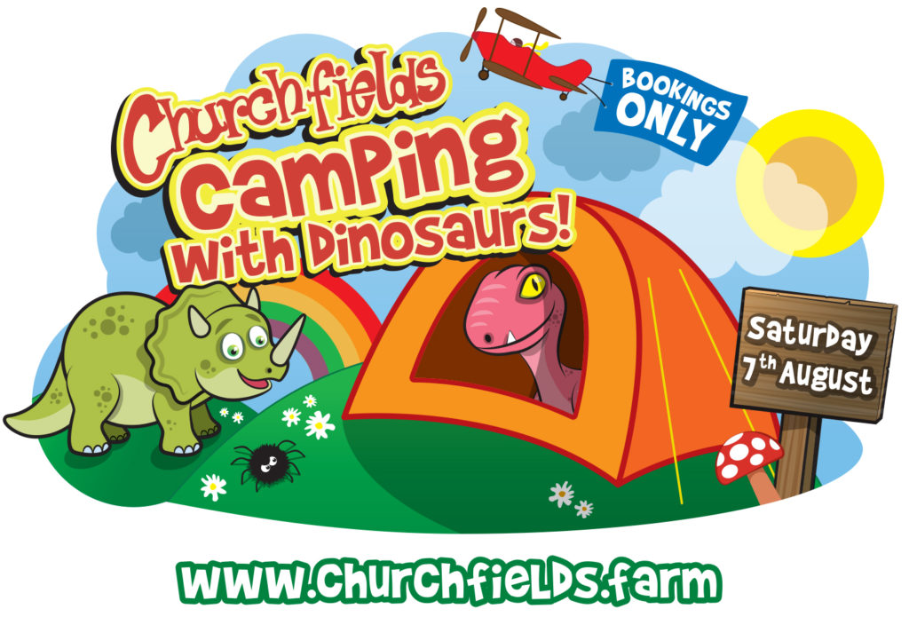 Camping with dinosaurs logo