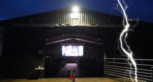 spooky barn with lightening