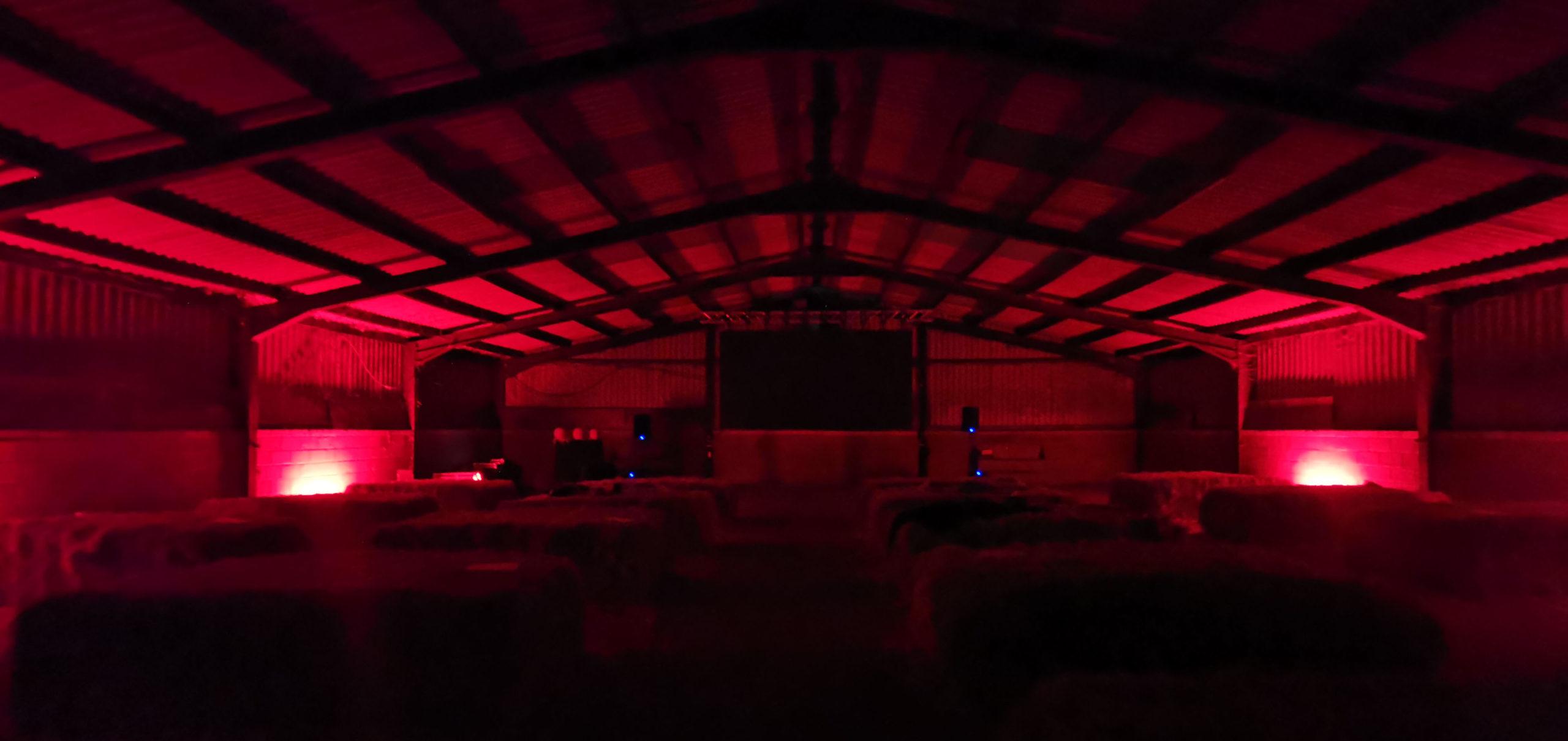 Spooky halloween barn red lighting